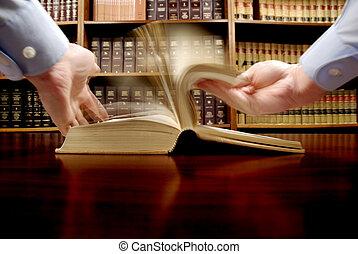 hånd på, juridisk bog