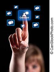 hånd, påtrængende, netværk, ikon, sociale