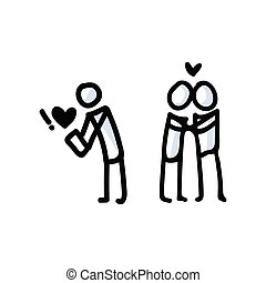 hånd, par., ikon, romantik, enkel, vektor, app, dating, figur, pind, begreb, stram, pictogram., bujo, dag, valentines, stemningsfuld, motif, hjerte, relationship., illustration., 10., eps, constitutions, årsdag