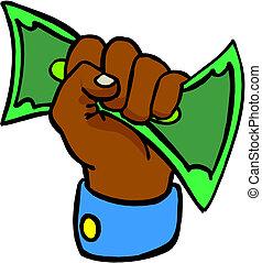 hånd, penge, give