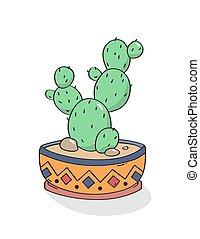 hånd, print., kaktus, vector., stram