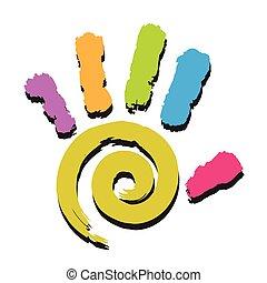 hånd, prints-spiral