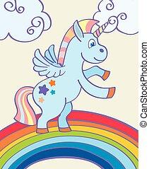 hånd, regnbue, vektor, enhjørning, stram