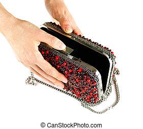 hånd, rummer, en, lille, rød, kvindelig, pung, belagt, hos, stones., clutch., lukke, oppe., isoleret, på hvide, baggrund.