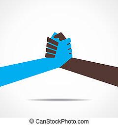 hånd, sammenvokse, eller, omryste