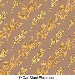 hånd, seamless, appelsin, diagonal, konstruktion, lines., beige, mønster, stram, blomstrede, colours.