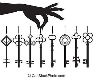 hånd, silhuet, nøgle, sæt, kvindelig, greb