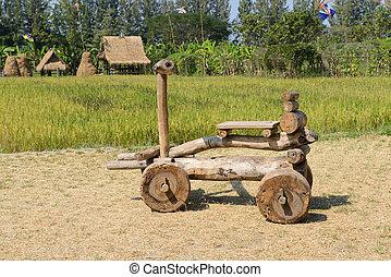 hånd stillede, træagtig legetøj vogn