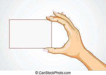 hånd, tom, card, holde