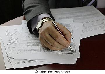 hånd, underskrevet, forsikring