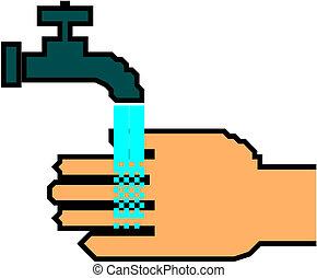hånd underskriv, vaske