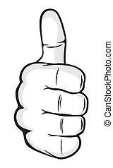 hånd, viser, tommelfingre oppe