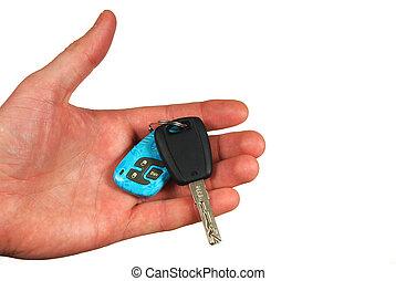 hånd, vogn nøgle