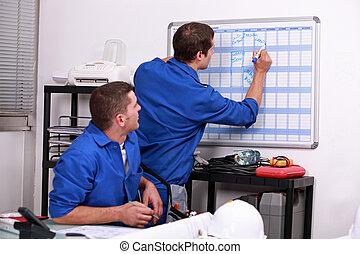håndbog, arbejdere, skrift, på, en, kalender