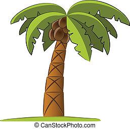 håndflade, vektor, træ, illustration