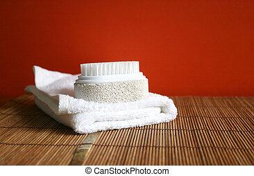 håndklæde, skønhed, pimpsten, -, sundhed, børste, kurbad