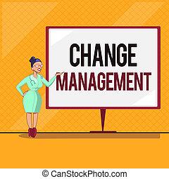 håndskrift, tekst, ændring, management., begreb, mening, erstatning, i, ledelse, ind, en, organisation, nye, policies