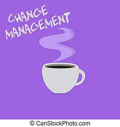 håndskrift, tekst, skrift, ændring, management., begreb, mening, erstatning, i, ledelse, ind, en, organisation, nye, policies