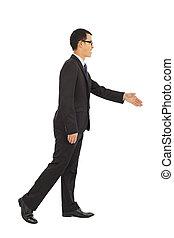 håndslag, hænder, isoleret, hvid, forretningsmænd
