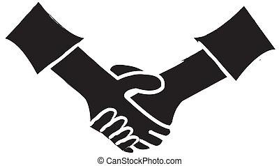 håndslag, silhuet