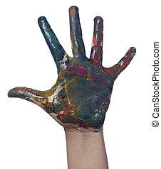 håndværk, hånd, kunst, barn, mal, farve