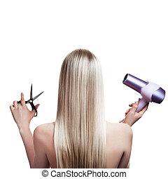 hår, blondin, redskapen, hairdresser's