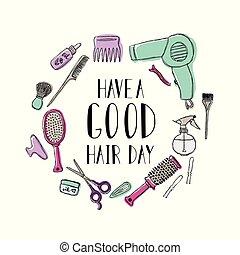 hår, bra, frisör, citera, motivational, tillbehör, day., s...