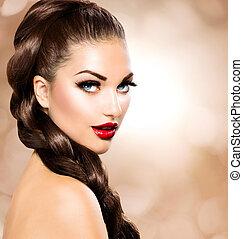 hår, braid., vacker kvinna, med, hälsosam, brunt hår länge
