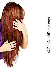 hår, brun, länge