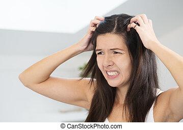 hår, dålig, kvinna, dag, ha