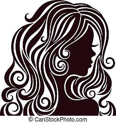 hår, dam, silhuett, ung, luxuös