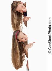 hår, deltagare, länge, underteckna, två, bak, tom, pekande