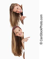 hår, deltagare, stående, länge, underteckna, två, bak, tom, pekande