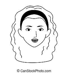 hår, design, lockig, kvinna, lägenhet