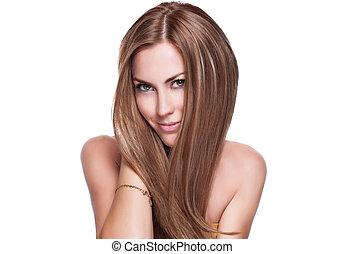 hår, elegant, kvinna, glänsande, länge