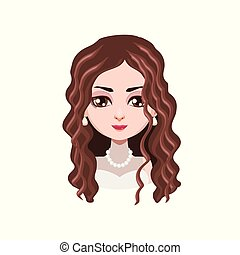hår, elegant, kvinna, lockig