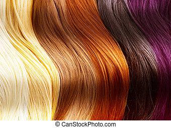 hår, färger, palett