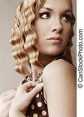 hår, flicka, blond, attraktiv, länge
