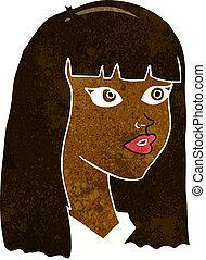 hår, flicka, nätt, länge, tecknad film