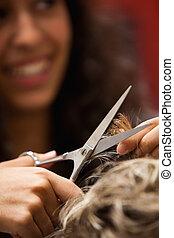 hår, frisör, klippande, stående