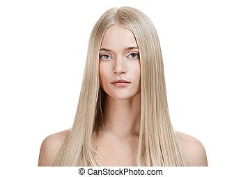 hår, girl., hälsosam, länge, vacker, blondin
