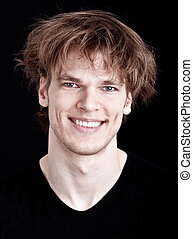 hår, glad, tokig, ung man