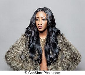 hår, herskabelig, sort, curly, skønhed