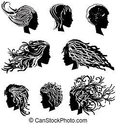 hår, huvud