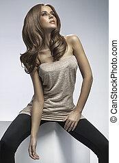 hår, ivrig, kvinna, länge, fashionabel