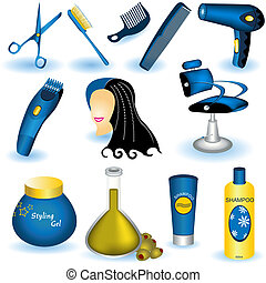 hår, kollektion, omsorg