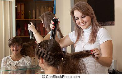 hår, kvinna, frisör, arbeten