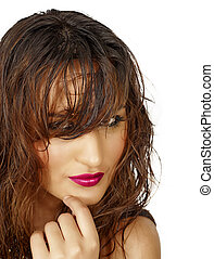 hår, kvinna, latino, våt