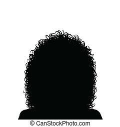 hår, kvinna, lockig
