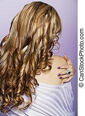 hår, länge, lockig, blond